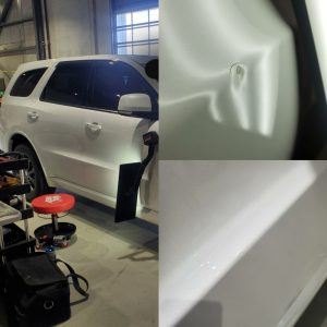 fix a dent with chipped and cracked paint