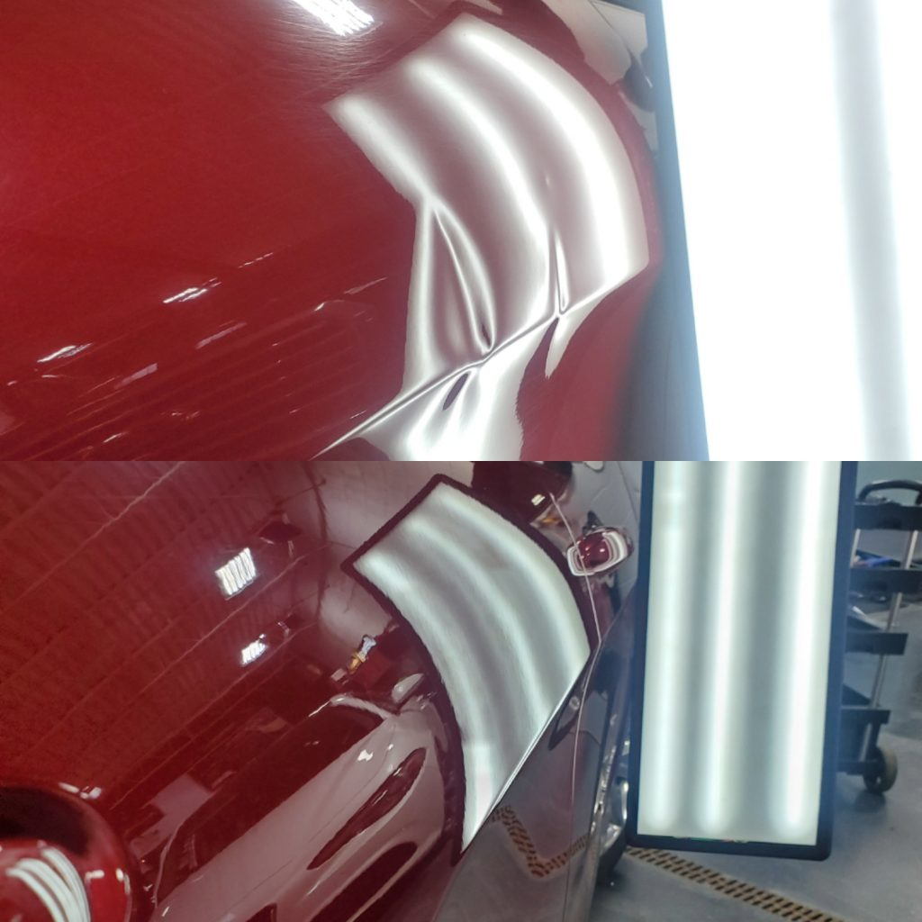 before and after image of the repair of a severely damaged body line dent with crowns and roll buckles