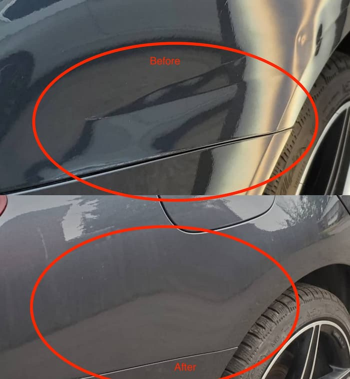 Rear side panel is an example of a successful paintless dent removal in Toronto