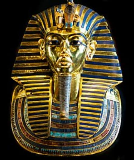 Golden mask of a mummy made from repoussage and chasing