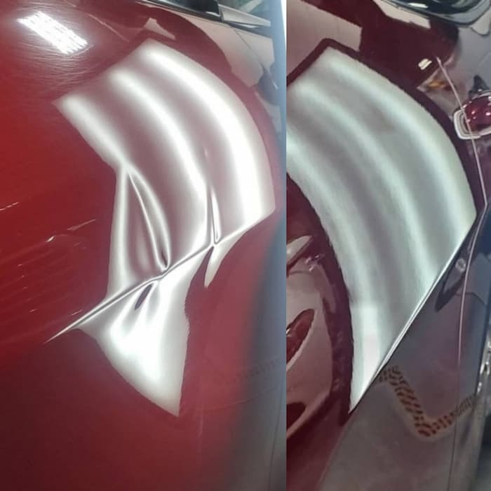 Dent medic at work showing the before and after of a dent being healed